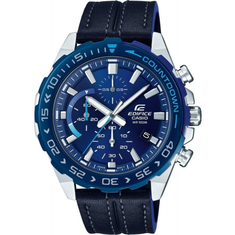 CASIO Herrenuhr EFR-566BL-2AVUEF schwarzes Lederarmband Chronograph blaues Zifferblatt Edifice