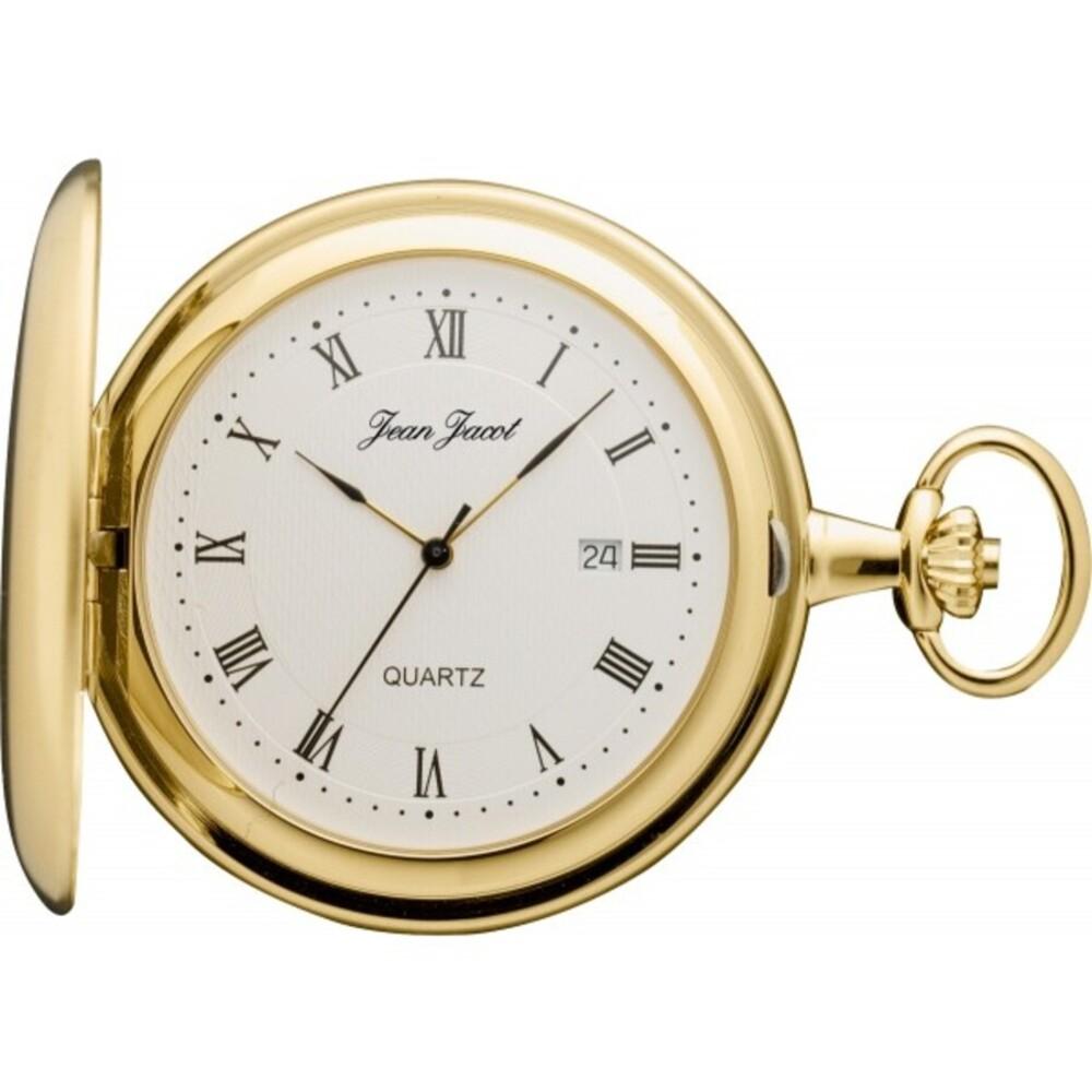 Taschenuhr Savonette Jean Jacot Metall vergoldet Quarzwerk Ziffernblatt Römisch