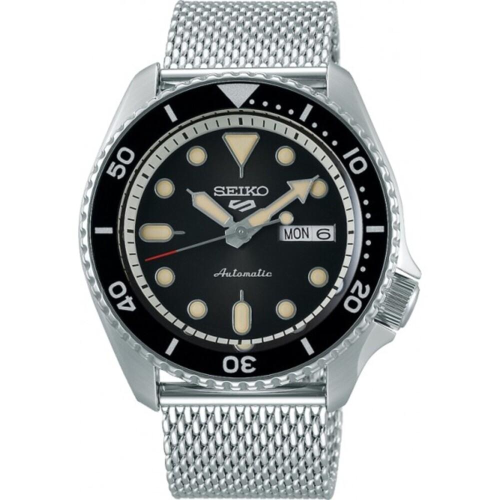 SEIKO Uhr 5 Sports SRPD73K1 Automatik Mechanisch Edelstahl Milanaise Armband schwarzes Zifferblatt 43mm Durchmesser