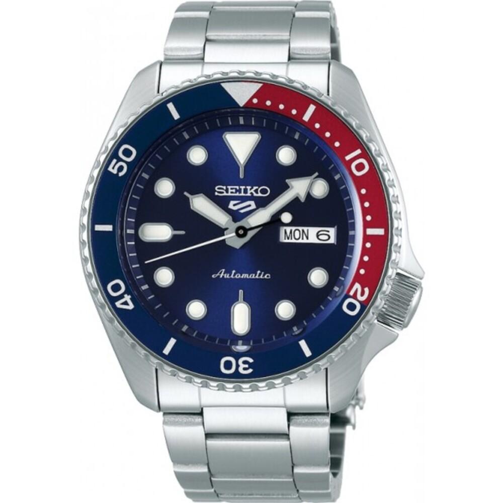 SEIKO Herrenuhr 5 Sports SRPD53K1 blaues Zifferblatt Pepsi Lünette blau rot 10bar Edelstahl 43mm Durchmesser