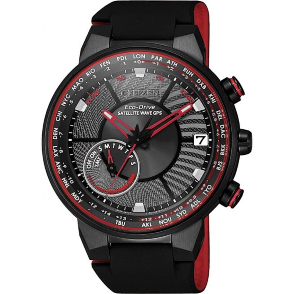 Citizen Herrenuhr CC3079-11E Satellite Wave GPS Eco Drive rote Indizes schwarz IP Edelstahl Gehäuse