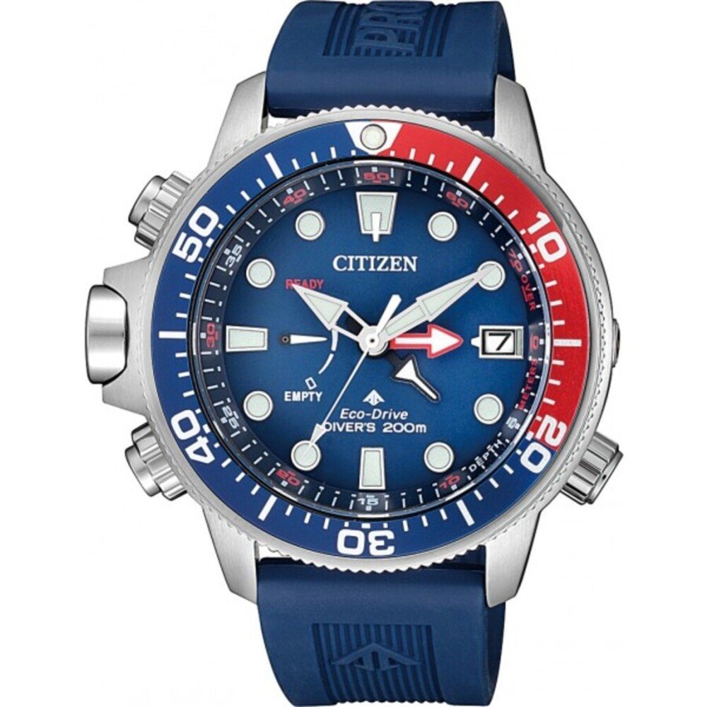 Citizen Herrnuhr BN2038-01L Taucheruhr Promaster Aqualand Edelstahl Urethan blau 20bar Tiefenmesser Tauchtiefe