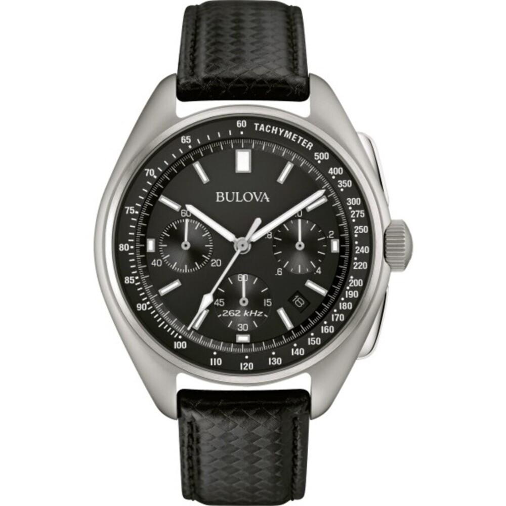 Bulova Herrenuhr 96B251 Lunar Pilot Chronograph Edelstahl Lederband Saphirglas Hochleistungs Quarzwerk