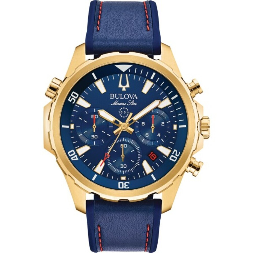 Bulova Herrenuhr 97B168 Marine Star Chronograph Edelstahl IP gold blaues Lederband