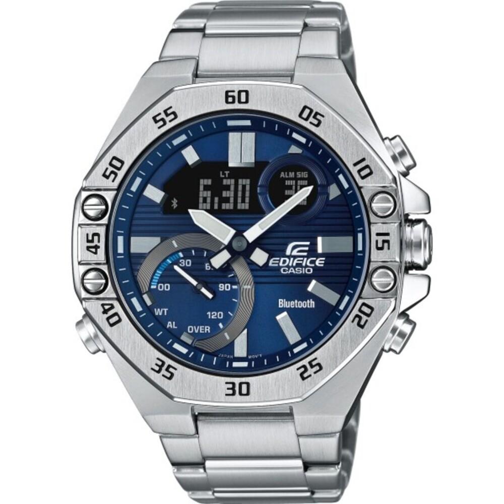 Casio Edifice ECB-10D-2AEF Herren Uhr Quarz Analog Digital Chronograph Bluetooth Silber Blau