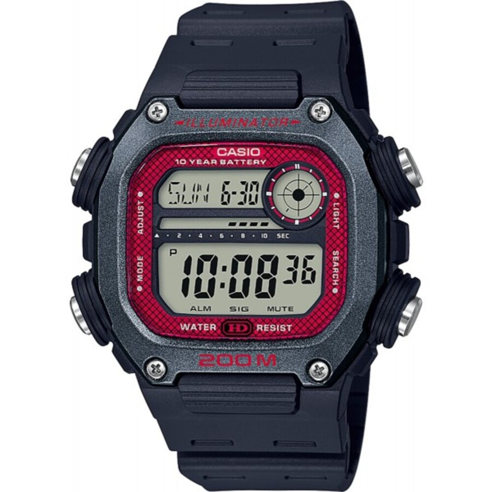 Casio Collection DW-291H-1BVEF Herren Uhr Quarz Schwarz Grau Rot Digital