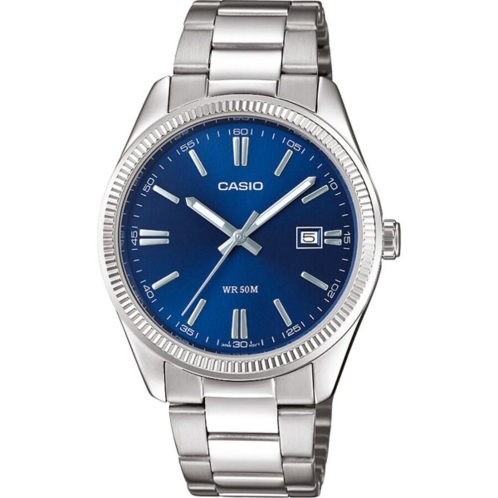 Casio Collection MTP-1302PD-2AVEF Herren Uhr Quarz Silber Blau