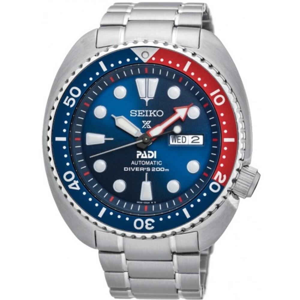 Seiko SRPA21K1 Prospex PADI Turtle Taucheruhr Automatikuhr 20 bar Pepsi Edelstahl Herren