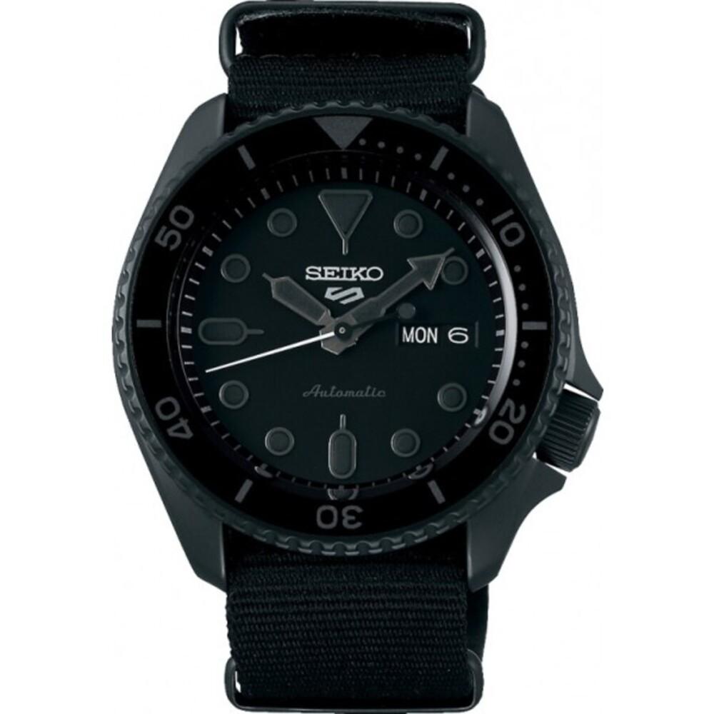 Seiko SRPD79K1 5 Sports Automatik Uhr schwarzes Nylonband Street Style Herrenuhr