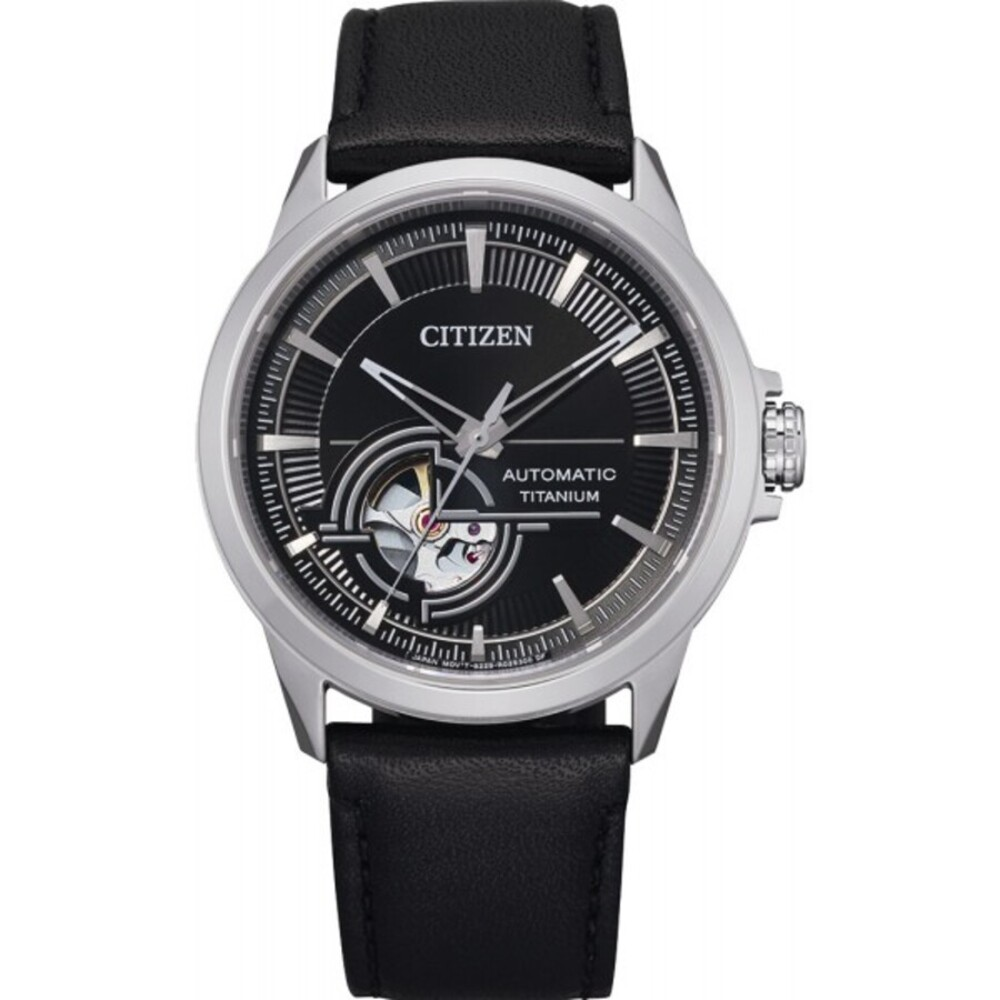 Citizen Uhr NH9120-11E Automatik Uhr Herren Titan Lederarmband Skelettiertes Werk schwarz
