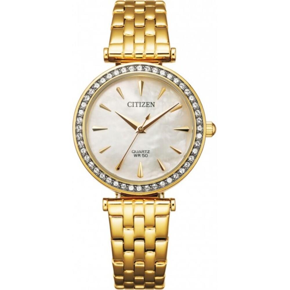 Citizen Uhr ER0212-50Y Damen Quarz Edelstahl/Gold mit  Swarovski Kristallen Perlmutt-Zifferblatt