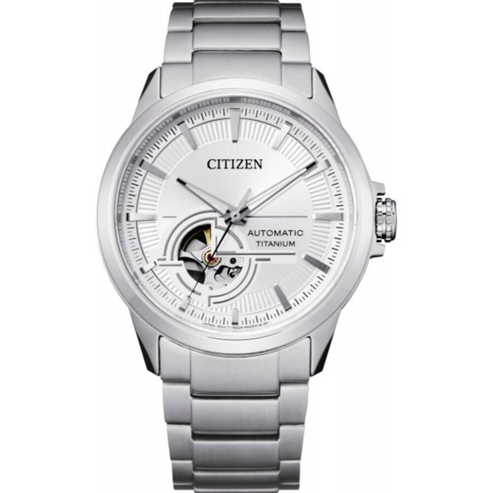 Citizen Uhr NH9120-88A Automatik Herrenuhr Skelettiertes Werk Titanuhr weiß