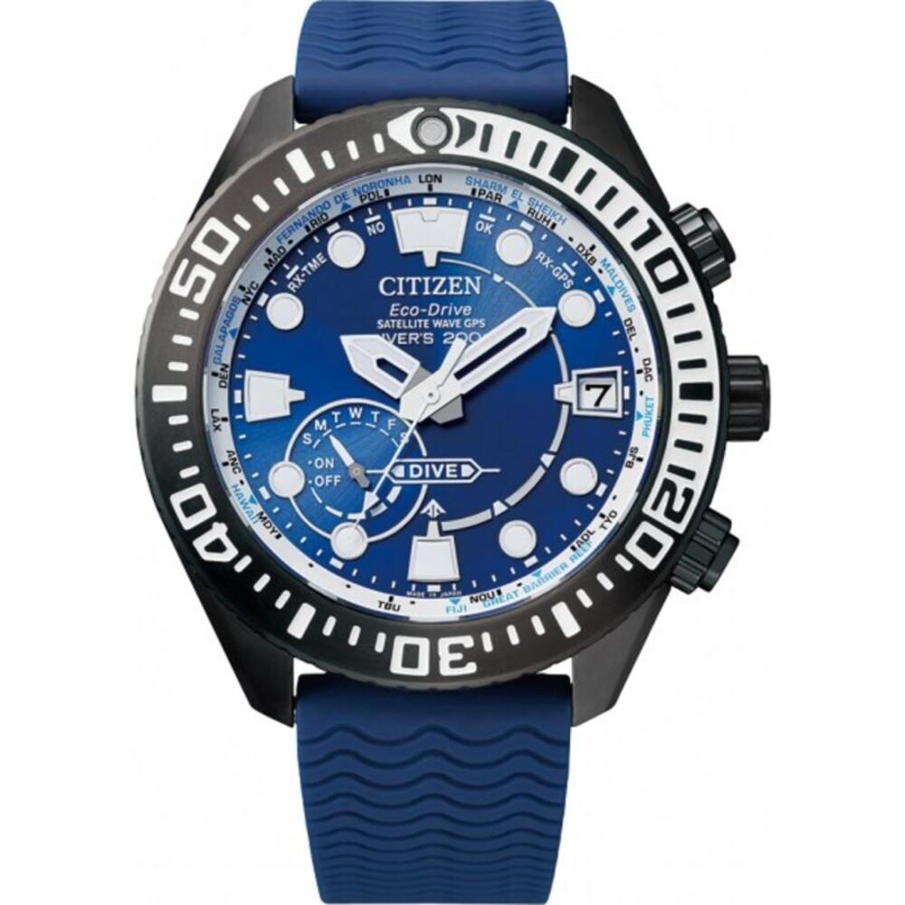 Citizen Uhr CC5006-06L Satellite Wave Taucher GPS Eco Drive Titan Taucheruhr Funk Solar 47mm blau/schwarz