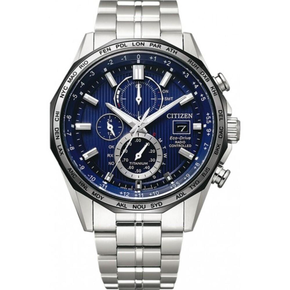 Citizen Uhr AT8218-81L FunkEco Drive Herrenuhr Titan Blaues Zifferblatt Solar Chronograph ewiger Kalender