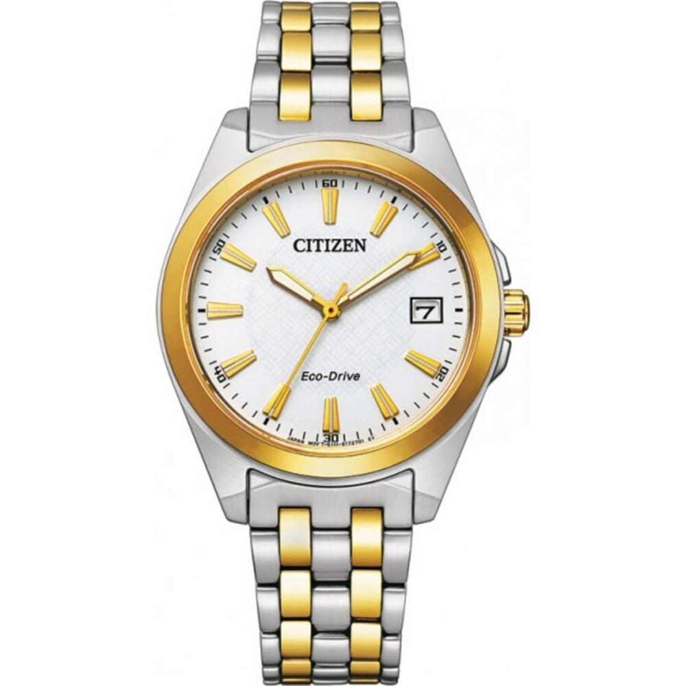 Citizen Uhr EO1214-82A ECO-Drive Damenuhr Edelstahl vergoldet Bicolor
