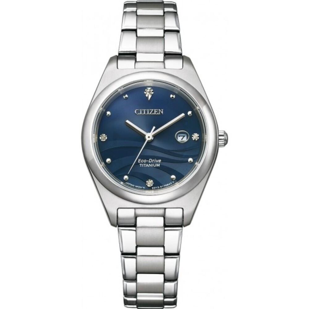 EW2600-83L Eco-Drive Damen-Armbanduhr Titan Perlmutt Blau-1