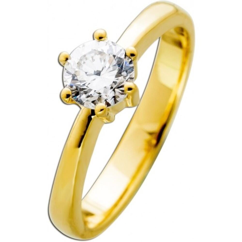 Solitärring Gelbgold 585 Brillant 0,65ct W / SI Görg zertifiziert
