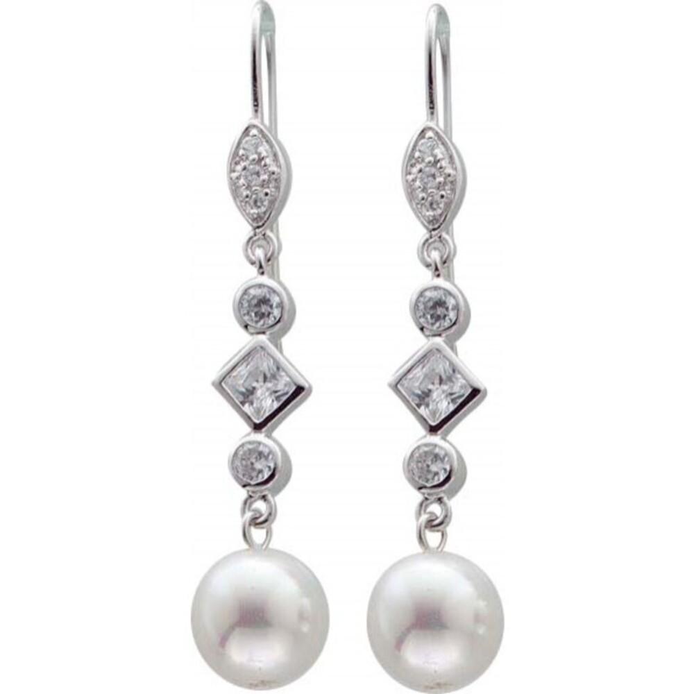 Silber Ohrhaken in Sterlingsilber 925/-, mit 12 diamantenfunkelnden Zirkonia  in Sterlingsilber handgefasstund  2 strahlenden weissen 10 mm grossen Perlen  (synth.) ca 42mm lang und 10 mm breit der Hänger ist beweglich , ein hingucker auf jeder Party