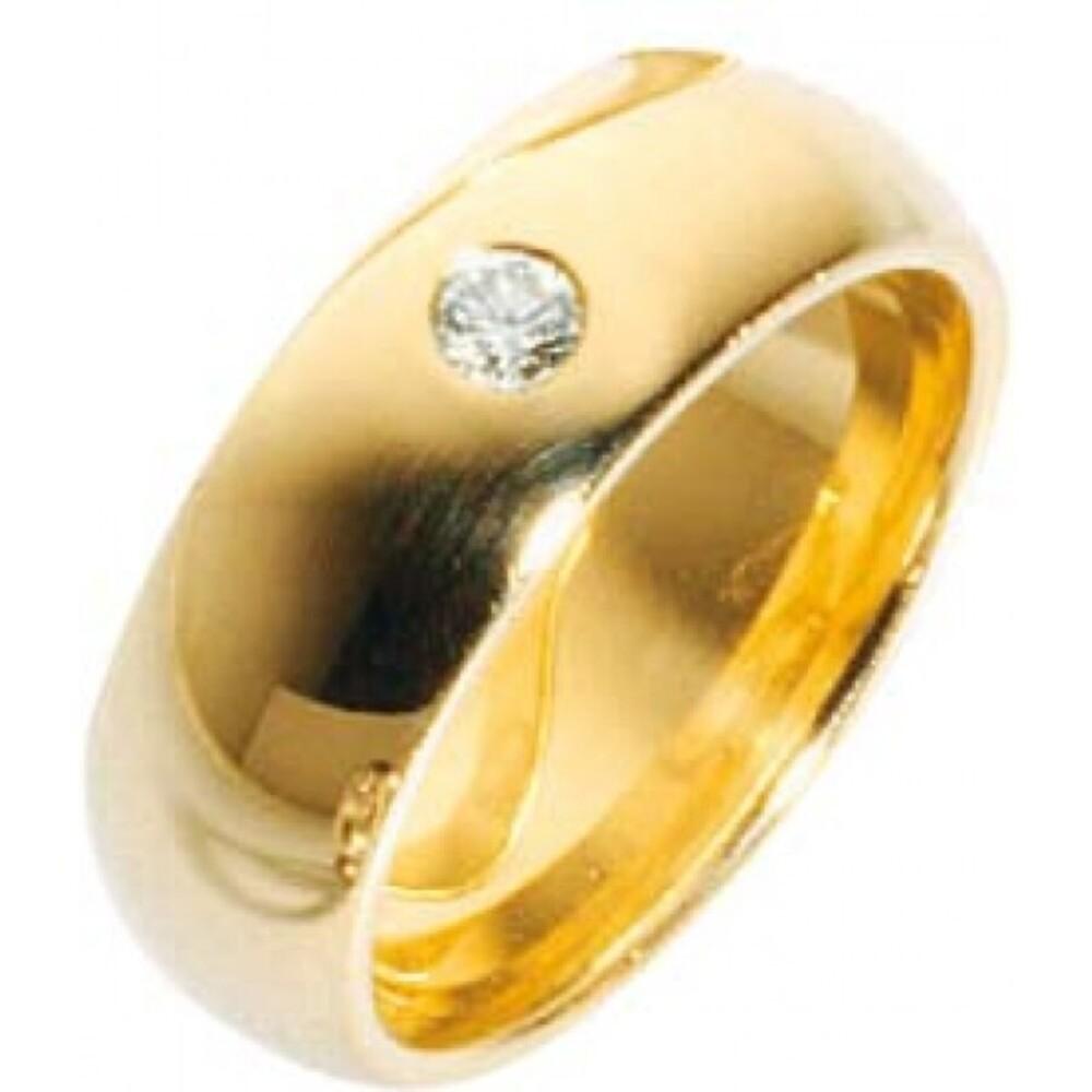 Trauring Gold 585 mit leuchtenden Brillant 0,12 Karat