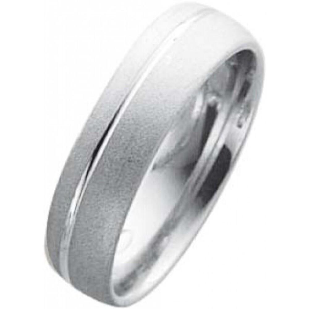 EheringTrauring Weißgold in 14k 585/ /,Breite 6,0mm, Stärke 1,6mm der Ring ist  fein mattiert,unterbrochen von einer hochglanzpolierten Rille  und von innen für den tragecomfort leicht abgerrundet die Gravur der Trauringe sowie das Etui ist im Preis entha