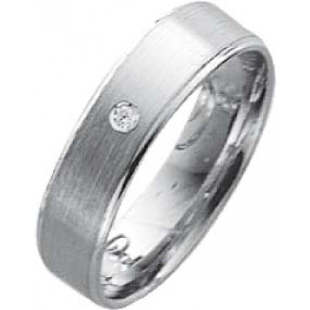 EheringTrauring Weißgold in 14k 585/,  Brillant 0,02ct W/SI Breite 5,0mm, Stärke 1,1mm der Ring ist hochglanz ist mattiert und an beiden Ränderrn abgestuft hochglanzpoliert die Gravur der Trauringe sowie das Etui ist im Preis enthalten und bei diesen einf