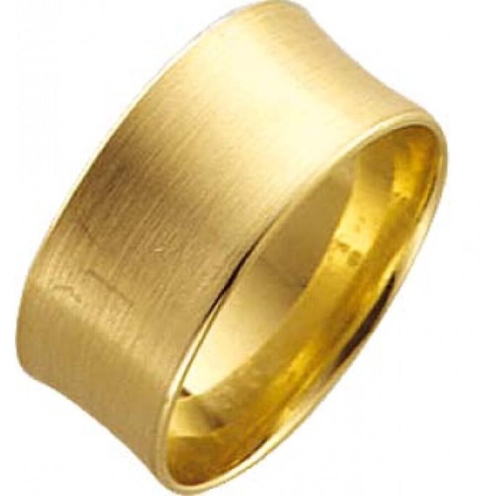 StuttgartTrauring Gelbgold feinmattiert leicht gewölbt für optimalen Tragecomfort 14k 585/-, Breite 10,0mm, Stärke 1,3mm. Der Ring auf dem Bild ist mattiert, standardmässig ist der Ring poliert, wenn eine Mattirung gewünscht ist, bitte angeben.Vergleichen