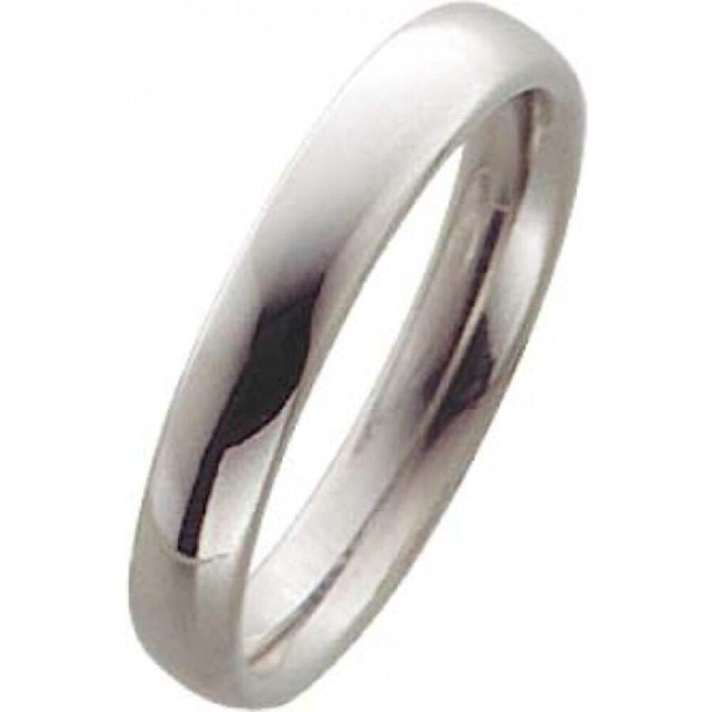 Trauring in Palladium 585/-, Breite 4,0mm, Stärke 2,1mm, der Ring ist poliert, die Gravur der Trauringe sowie das Etui erhalten Sie kostenlos und bei diesen einfarbigen Trauringen - Eheringen ist auch der kostenlose Auffrischungsservice beinhaltet. Selbst