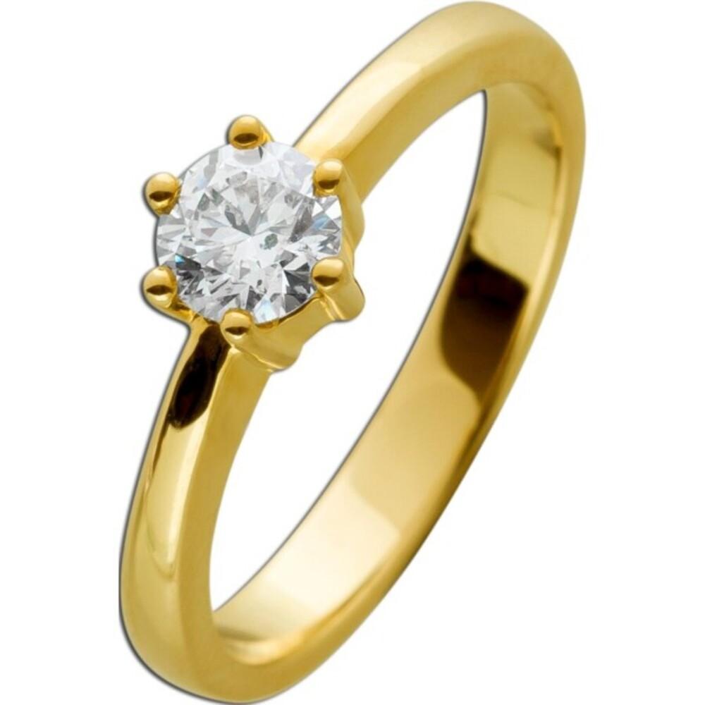 Solitärring Gold 585 Brillant 0,58ct TW/IF-VVS Görg Zertifikat Gelbgold Diamantring Gr. 17,5mm