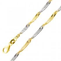 Kette Singapurkette Gelbgold Weißgold 585 massiv