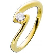 Diamantring Gelbgold 585 - 0,20ct W/SI Brillant Schliff ausgefallene Ringschiene