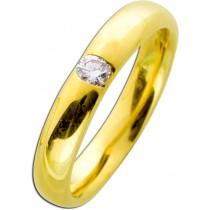 Diamantring Gelbgold 585 - Diamant 0,15ct W/SI Brillantschliff  Verschnittfassung