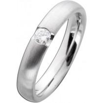 Diamantring Weißgold 585 mattiert Diamant 0,15ct W/SI Brillantschliff
