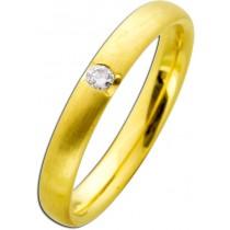Ring Gelbgold 585 mattiert Brillant 0,05ct W/SI Verschnittfassung
