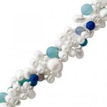 Perlenkette - Perlen Perlencollier Silber mit Süsswasserzuchtperlen und blauem Achat,Edelsteinen 42+5cm