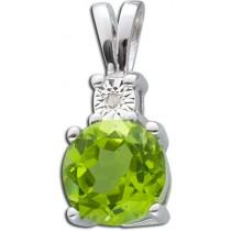 Anhänger Sterling Silber 925 Peridot Diamant