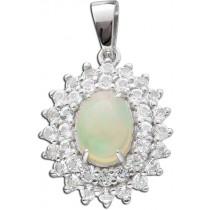 Anhänger Sterling Silber 925 ethiopischer Opal 36 weiße Topase