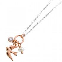 Halskette Silber 925 Anhänger rosévergoldet Vogel Zirkonia Süßwasserperle