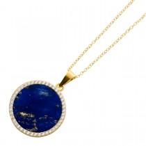 Edelsteinkette Sterling Silber 925 vergoldet Lapislazuli