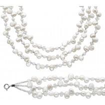 Perlenarmband Perlenkette Set weisse Süsswasserzuchtperlen weisse Steine Kristalle Silber 925