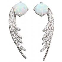 Ohrringe Fakepiercing Sterling Silber 925 rhodiniert Opal Zirkonia