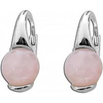 Ohrringe Ohrhänger T-Y Sterling Silber 925 rhodiniert Rosenquarz