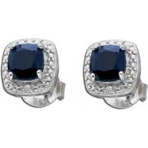 Ohrringe Ohrstecker Sterling Silber 925 nachtblauer Saphir Diamant_267818