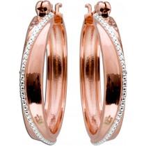 Ohrringe Creolen Sterling Silber 925 Rose vergoldet rhodiniert 2 Diamanten
