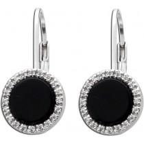 Ohrringe - Ohrhänger Silber 925 mit 2 Onyx und 44 Zirkonia