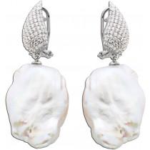 Perlen-Ohrhänger Sterling Silber 925  Barockform Zirkonia