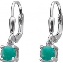 Brisur Ohrringe Sterling Silber 925 grüne facettierte Smaragde