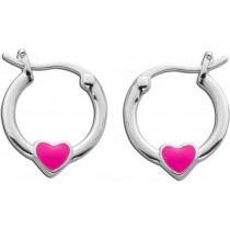 Kindercreolen Sterling Silber 925 pink emaillierten Herzen
