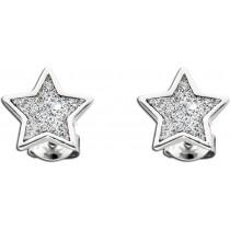 Funkelnde Stern Ohrstecker aus poliertem Sterling Silber 925