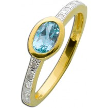 Ring Sterling Silber 925 gelbvergoldet Blautopas und Diamanten