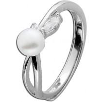 Ring Sterling Silber 925 rhodiniert Süßwasserzuchtperle Zirkonia_278319